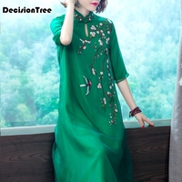 2019 summer hot sale green chinese ladies silk satin cheongsam long qipao novelty evening dress vintage dragon dress