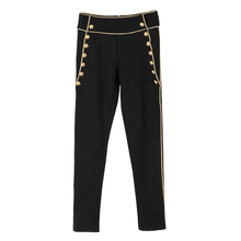 HIGH QUALITY Newest Fashion 2017 Runway Designer Pants Women's High Waist Lion Buttons Skinny Pencil Pants