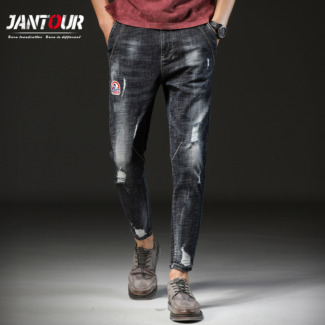 Jantour 2018 Новинка весны летние джинсы брендовая мужская одежда модные мужские джинсы качество лодыжки Длина Брюки для девочек модные брюки человек