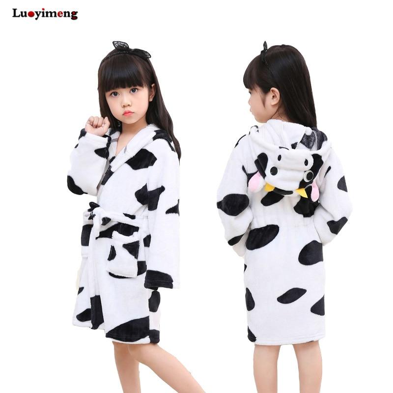 Kids Robe For Boys Girl Animal Kigurumi Cow Unicorn Sleepwear Cartoon Fannel Baby Bathrobe Hoodie Beach Towel Childrens Pajamas