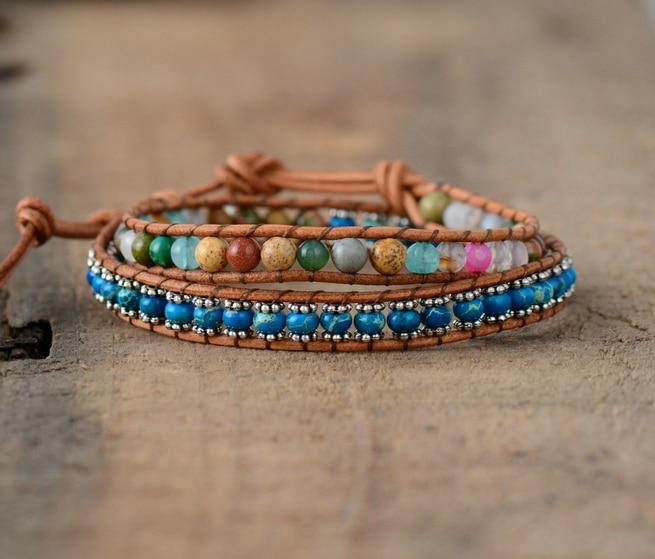 Leather Bracelets Colorful Natural Stones 2 Strands Wrap Bracelets Vintage Beading Woven Statement Bracelet Dropshipping bracelet
