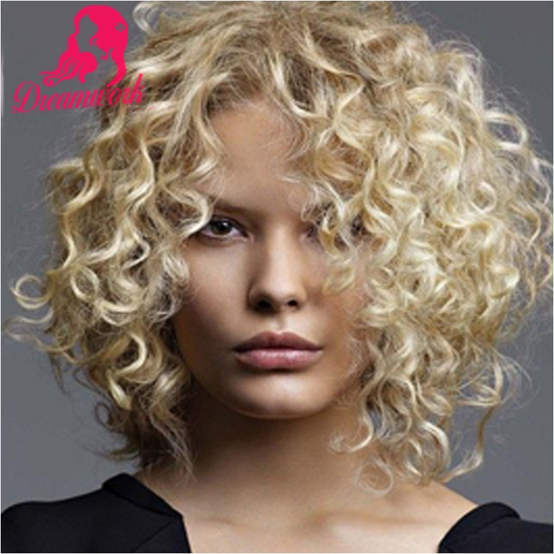 Honey Blonde Short Curly Full Lace Wig With Bleached Knots Free Part