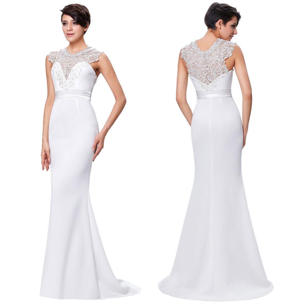 uzun beyaz abiye elbise