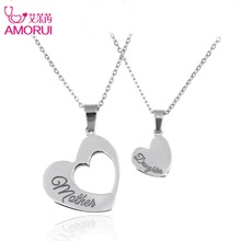 AMORUI Fashion Women Double Heart Silver Necklaces Stainless Steel Mother Daughter Couple Jewelry Pendants Chain Necklace Women