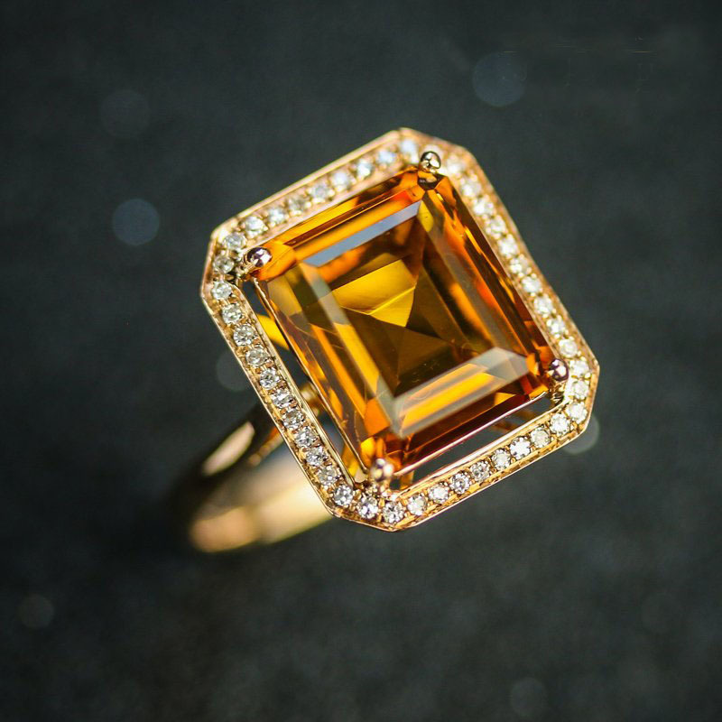6 10 CARAT NATURAL Gemstone Citrine ring 18K Rose Gold Excelent Cut