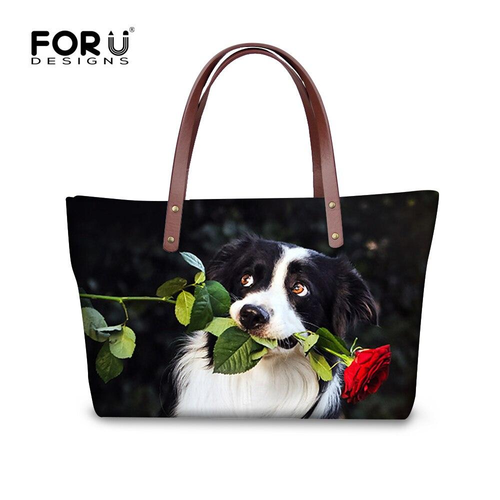 ФОТО Cute Dog Border Collie Pattern Bag Famous Brand Women Handbags Tote Bags High Quality Crossbody Bags for Shopping bolsa feminina