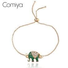 Comiya Bracelets For Women Zinc Alloy Chains Elephant Pattern Gold Color Pulseira Feminina Statement Accessories Indian