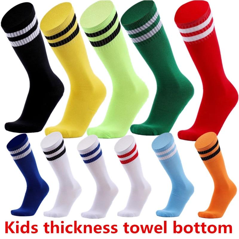 Professional Sports Kids Boys Thick Breathable Tennis Running Football Socks Soccer Socks Knee Stripe Socks HD-02
