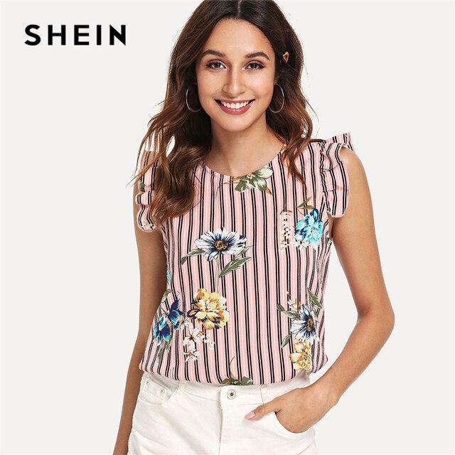 7997e0b457672 SHEIN Multicolor Vacation Bohe Bohemian Beach Floral Print Vertical Striped  Ruffle Sleeve Blouse Summer Women Casual
