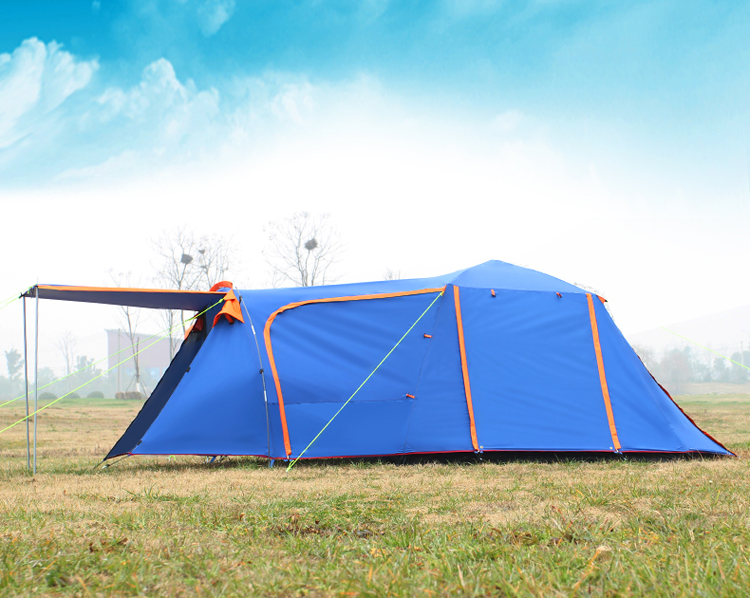 High quality double layer 3-4person one hall one bedroom waterproof windproof camping tent in one person