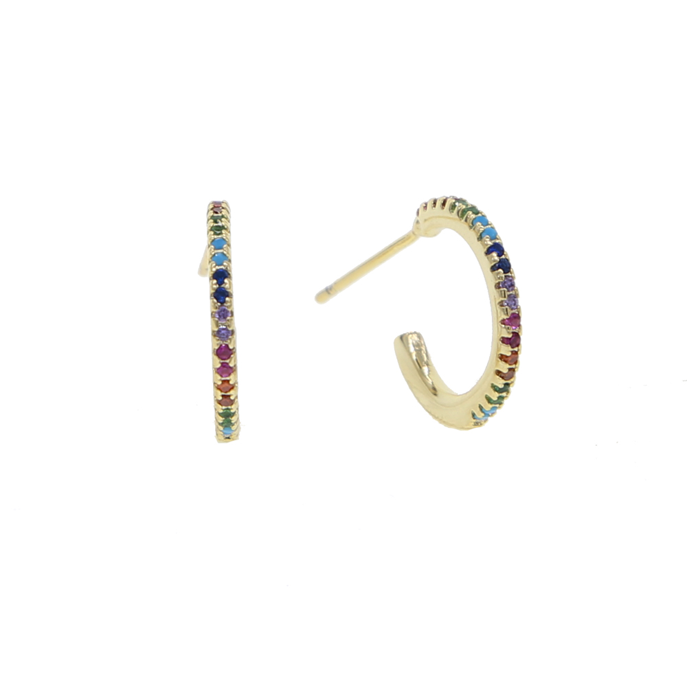 2018 rose Color High Polished Hoop Earrings Paved with AAA rainbow colorful Cubic Zirconia for women girl Wedding cheap Jewelry 2018 rose color high polished hoop earrings paved with aaa rainbow colorful cubic zirconia for women girl wedding cheap jewelry