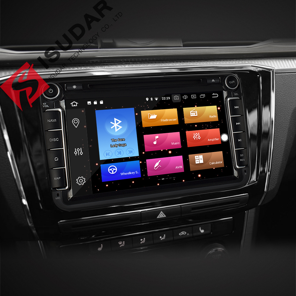 Isudar Voiture lecteur multimédia Android 8.0 GPS 2 Din autoradio Audio Auto Pour VW/Volkswagen/POLO/PASSAT/ golf 8 Noyaux FM Radio IPS - 2