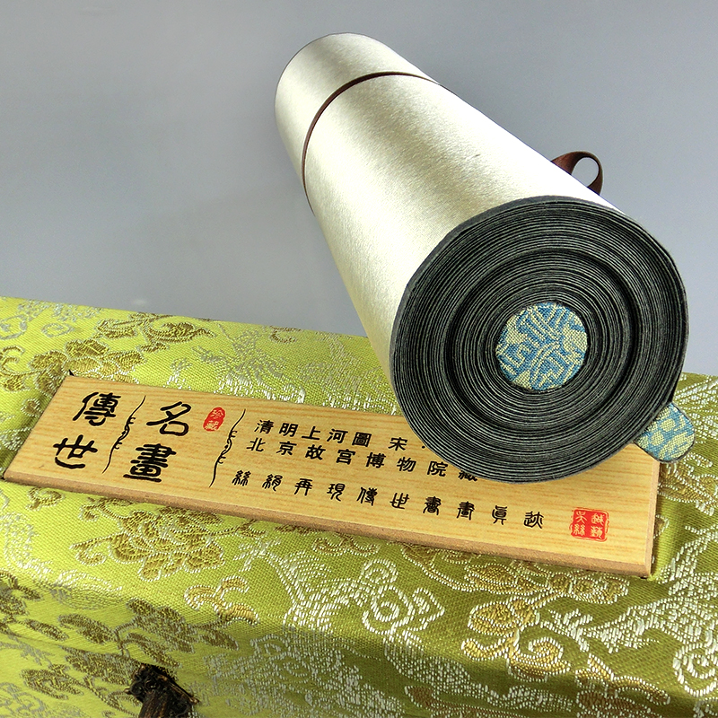 ShaoFu Chinese Famous Painting Along The River During The QingMing Festival Panorama Silk Canvas Home Decoration Wall Pictures in Painting Calligraphy from Home Garden
