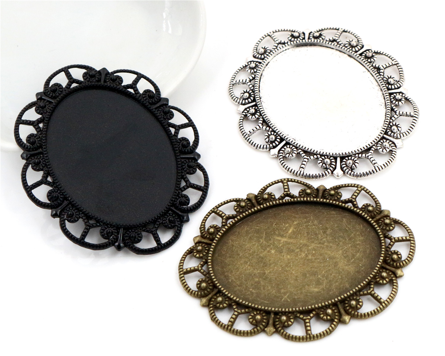 5pcs 30x40mm Inner Size Antique Silver And Bronze And Black Cabochon Base Setting Charms Pendant