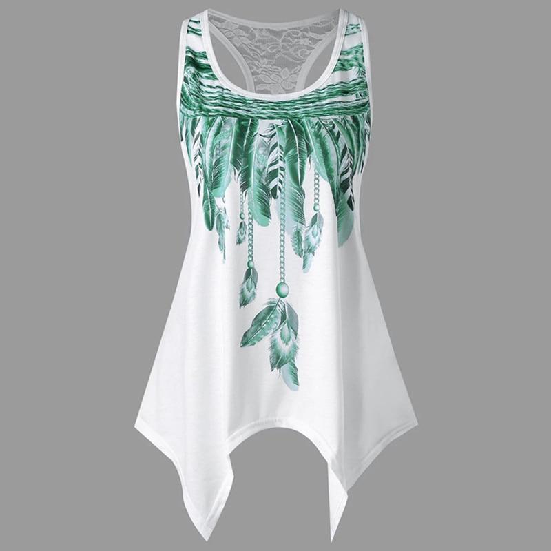 Women Sleeveless Feather Printed Vest   Tank     Top   Summer O Neck Asymmetrical   Tops   Tee Shirt New Women Clothing Plus Size T-shirt