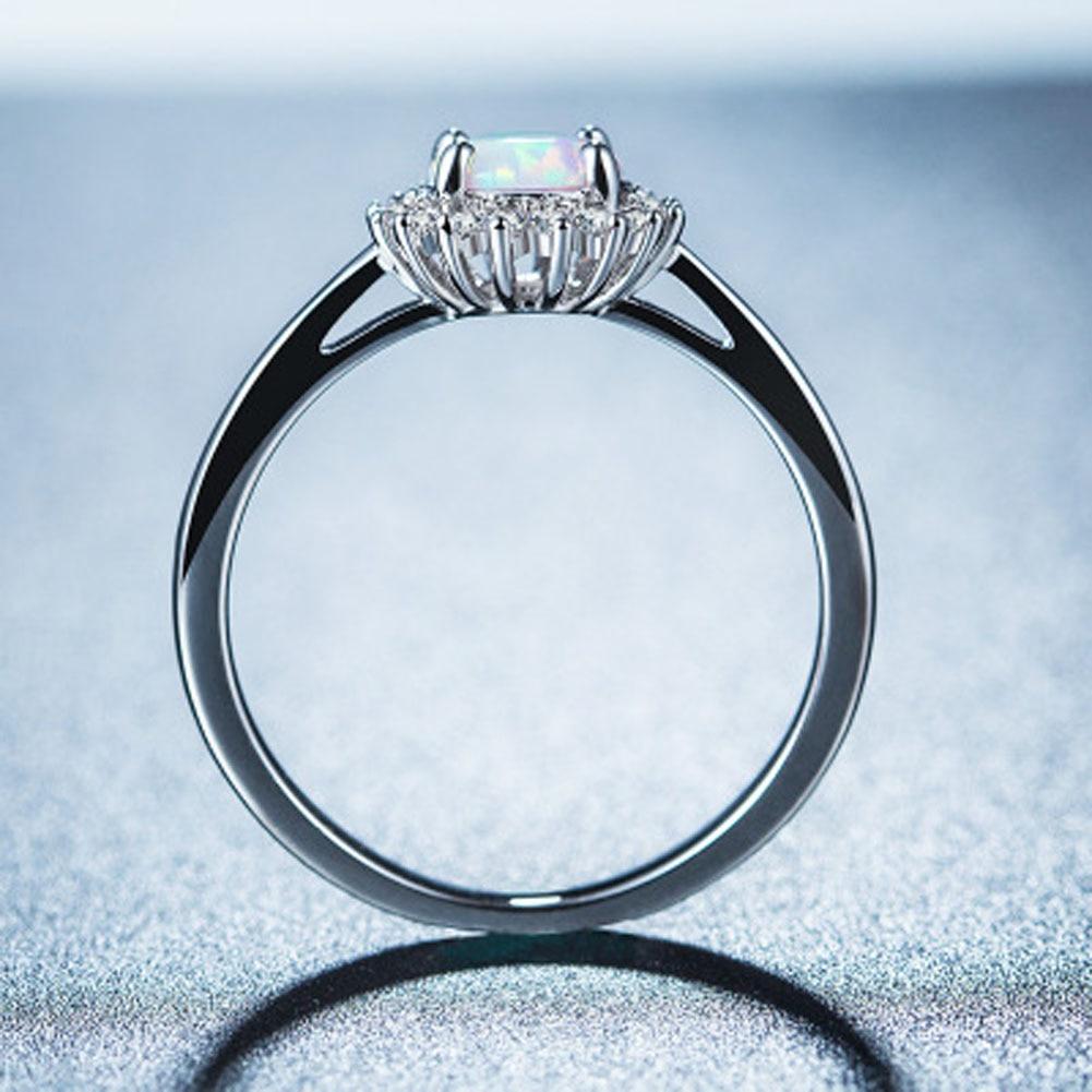 Hot Sale White Opal CZ Women Claw Inay Opal Ring Size 5 6 7 8 9 10 Fashion Jewelry