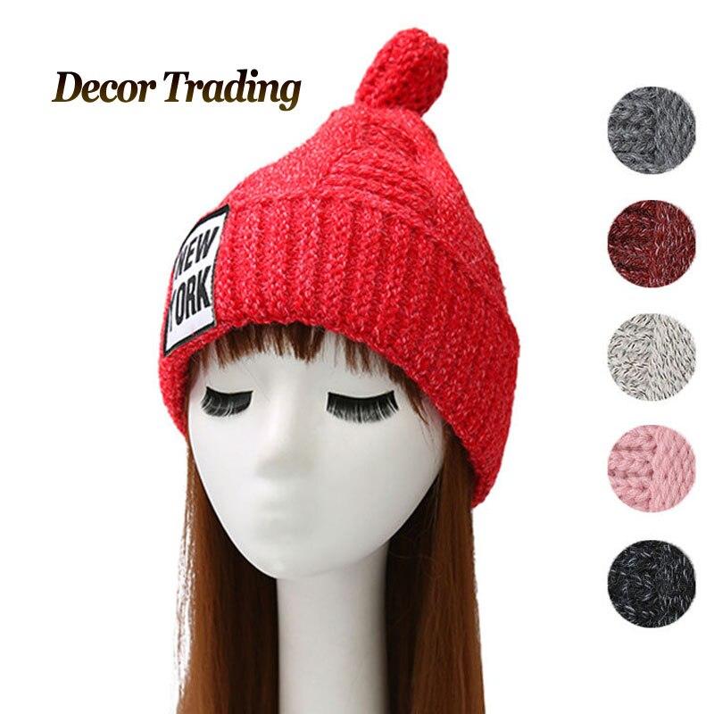 2016 NEW Velvet Knitted Hat Women NEW YORK Winter Hat For Women Hat Fashion Warm Skullies Beanies Female Cap