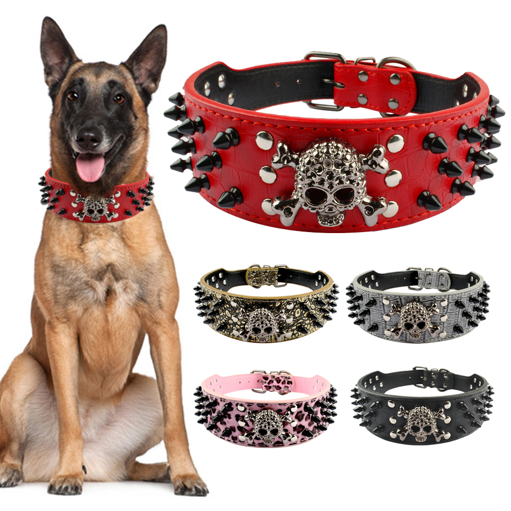 "2 ""Wide Spiked Studded Leather Dog Collar Bullet Rivets Med Cool Skull Pet Tillbehör Till Meduim Stora Hundar Pitbull Boxer S-XL"
