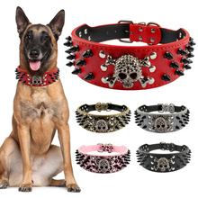 Wide Spiked Studded Leather Dog Collar