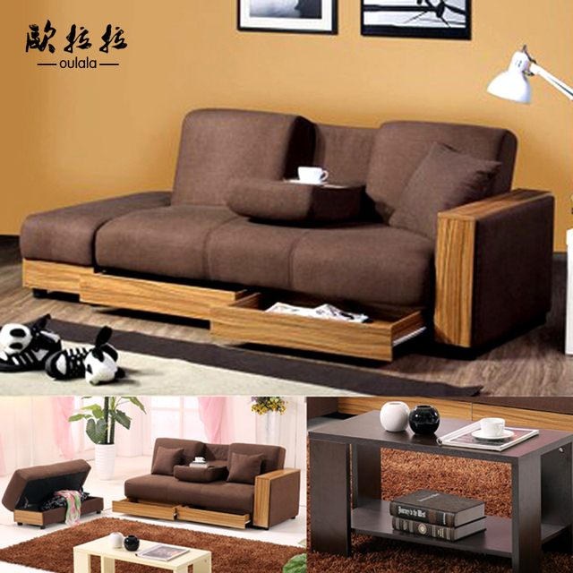 Ou Lala home Japanese style fabric sofa multifunctional storage ...