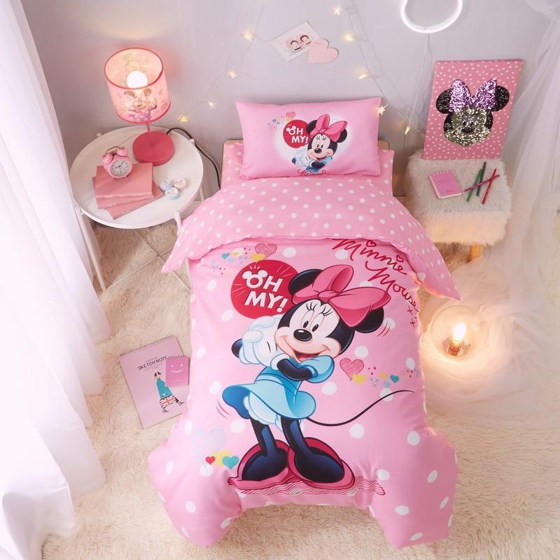 100% coton ensemble de literie princesse rose belle souris douce 3 pc housse de couette taie d'oreiller chambre d'enfants étudiant dortoir famille