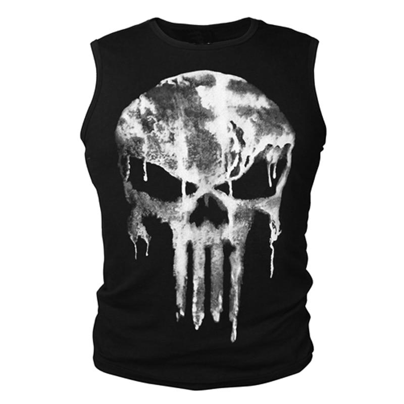 Cotton T-shirt Short Sleeve Shirt Summer The Punisher Skull T Shirt Slim Black O-Neck Short Sleeve Tees Fitness Tops Tees