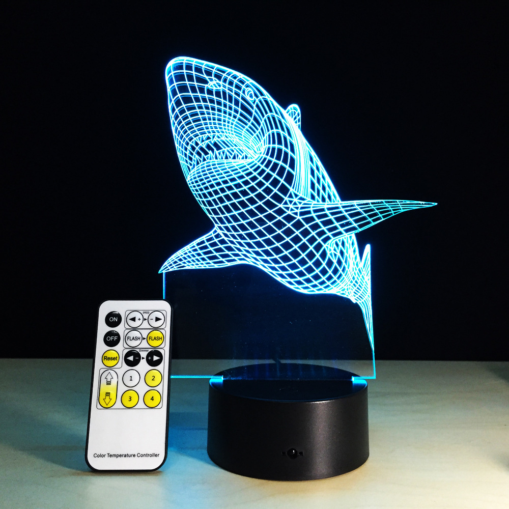 New 2017 3D Visual LED Lights Shark Lamp USB Touch Switch Small Night Light 7 Color Gradient Souvenir Acrylic Corridor Lights