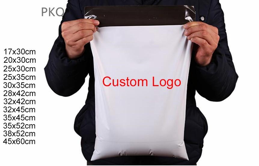 500 개/몫 새로운 wholesales 사용자 정의 로고 가방 폴 리 메일러 배송 가방 메일 링 봉투 가방 인쇄 플라스틱 스토리지 bages 파우치-에서선물가방&포장용품부터 홈 & 가든 의  그룹 1