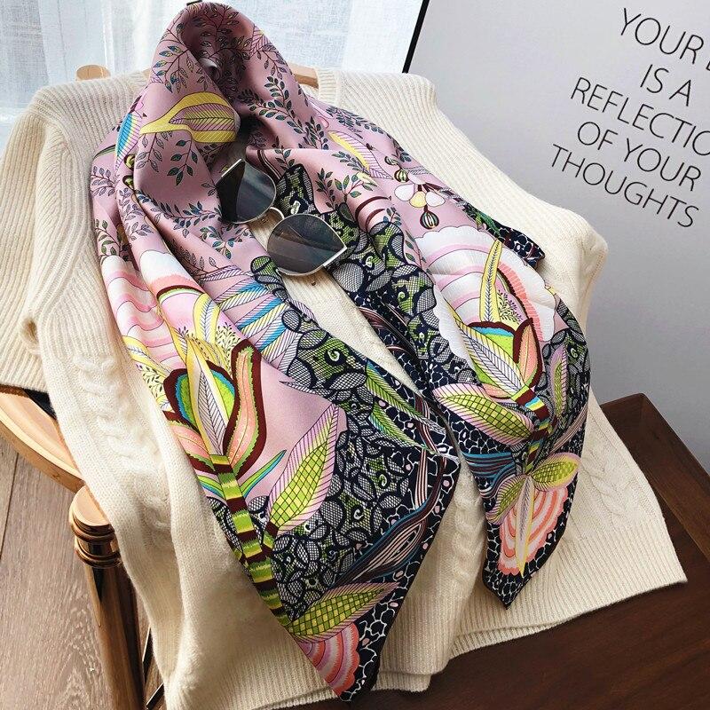 2019 Spring Floral 100% Twill Silk Scarf Wraps Shawl 35