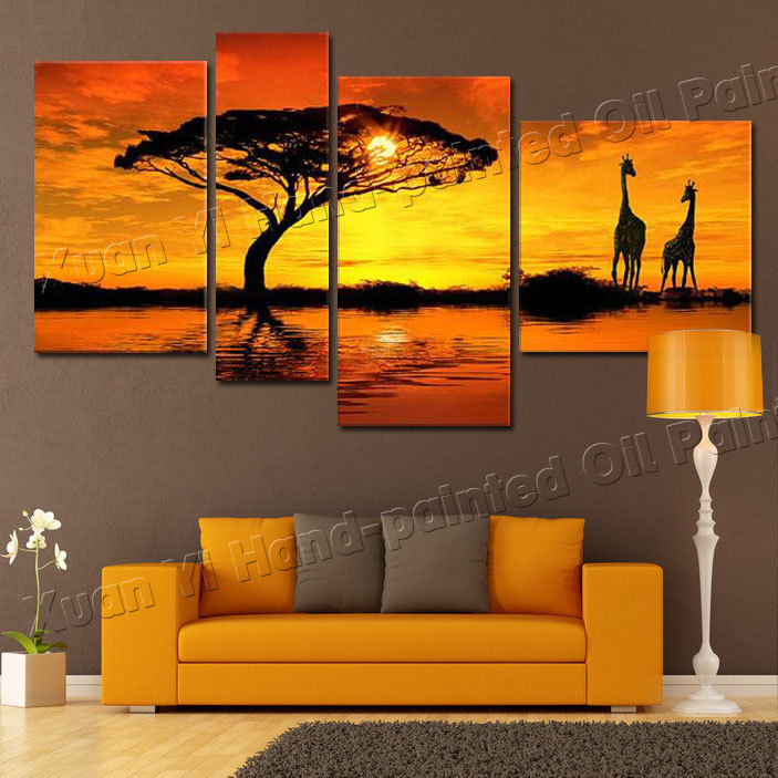 Art Paintings For Living Room Cheap Tables Sets 4 Panel African Safari Landscape Oil Painting Cuadros ...