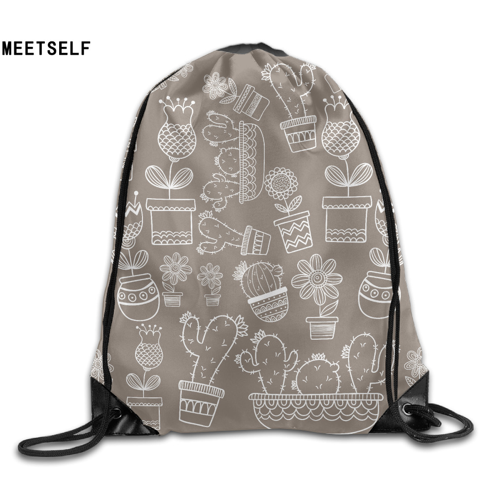 Samcustom 3d Print Cactus Brown Shoulders Bag Women Fabric Backpack Girls Beam Port Drawstring Travel Shoes Dust Storage Bags