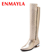 Airfour New Confortable Low Heels Round Toe Knee-High Boots Women Buckle Fashion Gold Silver Black Winter Flats Knight