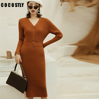 Winter Dress Women Long Sweater Dress V Neck Pullover Tops Slim Long Sleeve Femame Jumper Sashes OL Ladies Dresses Pull Femme