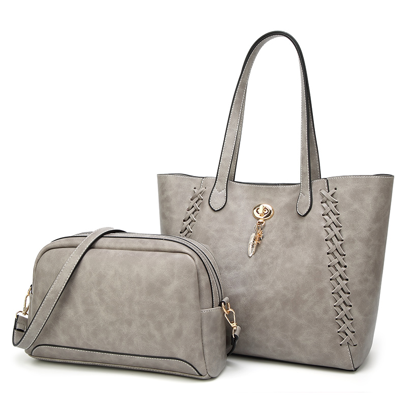 2pcs Set Women Composite Bags High Quality Ladies Handbags PU Leather Female Shoulder Messenger Bags Casual Big Tote Bag Bolsa in Shoulder Bags from Luggage Bags