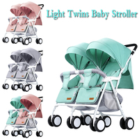Twins Baby Stroller Light Weight Double Stroller Super Light Stroller for Two Baby Can Sit Can Lie Baby Pram