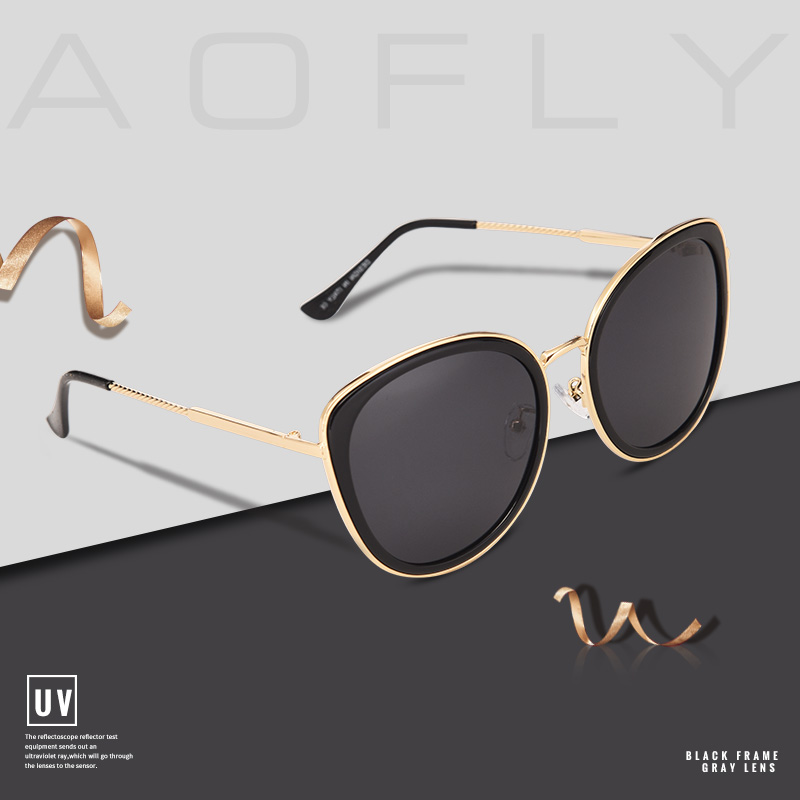 Image 2 - AOFLY BRAND DESIGN New 2019 Cat Eye Sunglasses Women Gradient Lens Polarized Sunglasses Female Metal Temple Goggles UV400 A111Womens Sunglasses   -