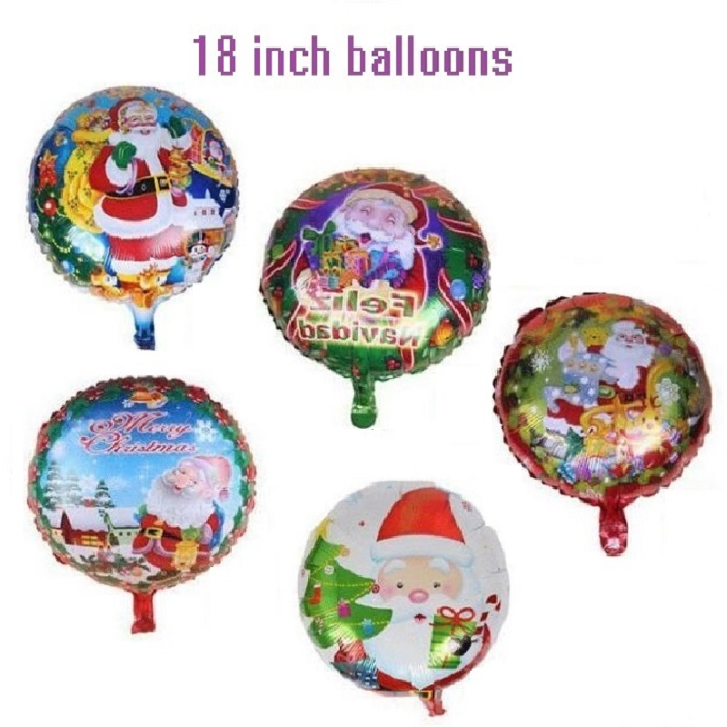 "Where To Buy Christmas Decorations Year Round: 5Pcs/lot Santa Claus Balloons 18"" Round Foil Helium Merry"