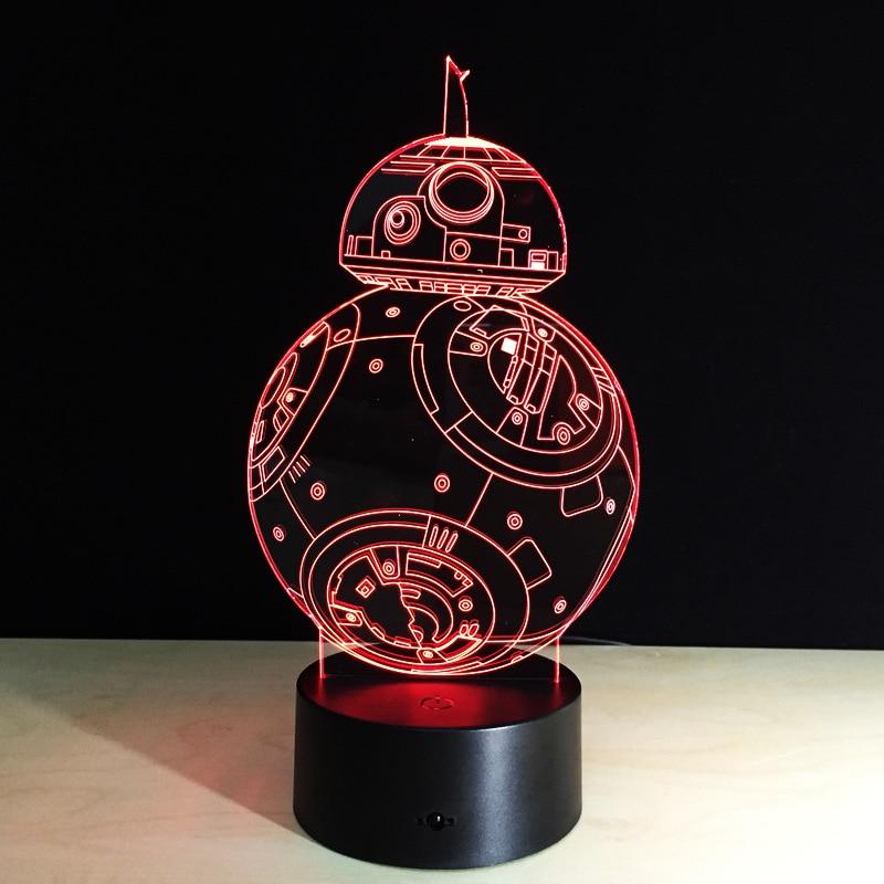 Cadeaux Créatifs Star Wars Lampe 3D Night Light Robot USB Led Table - Veilleuses - Photo 3