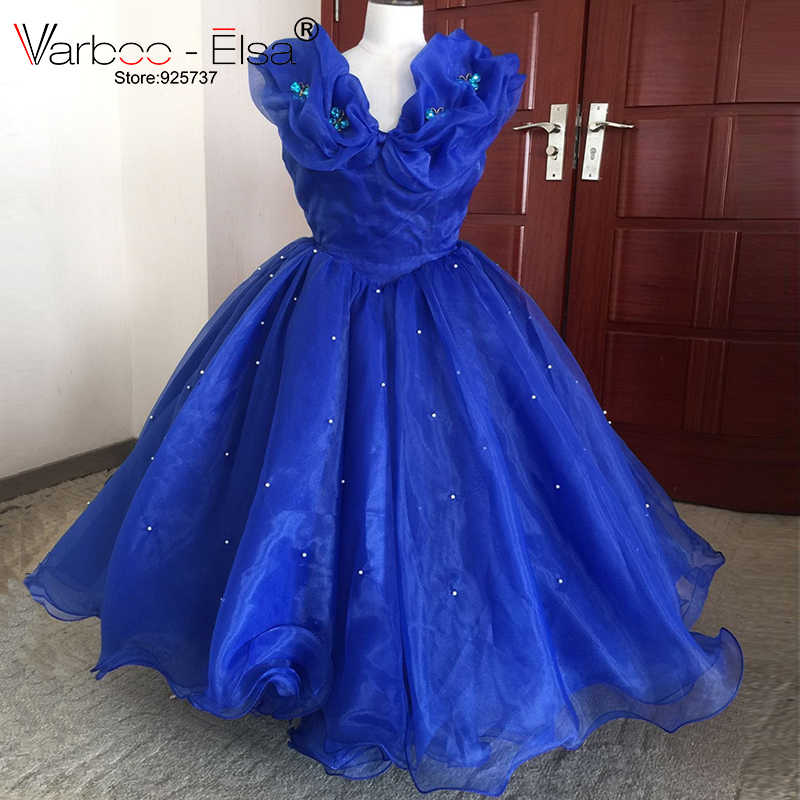 0a3c4d8928 VARBOO_ELSA Royal Blue Cinderella Dress Litter Girl Wedding Party Gown 2018  Lovely Mother Daughter Organza Flower Girl Dress