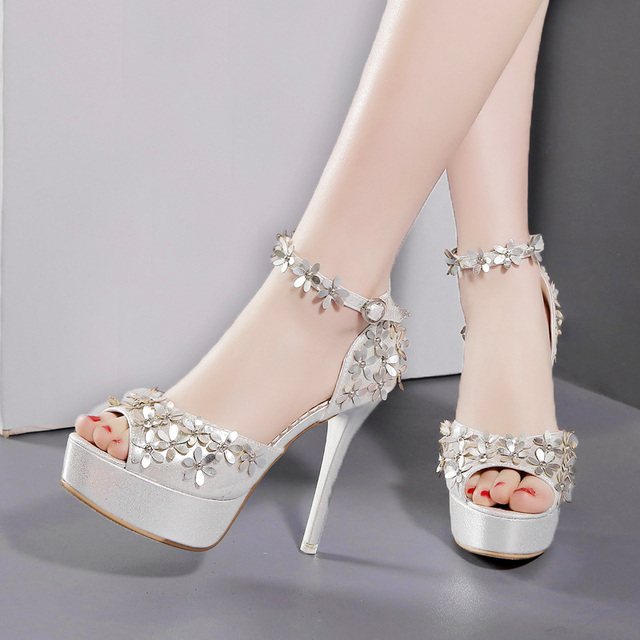 Sexy Woman Shoes Flower Brand Sandals Women Pump Ankle Strap Stilettos  Platform Wedding Shoes Bride Thin Heels Peep Toe Party 12c22f83dc8f