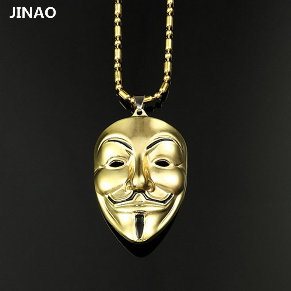product JINAO New Trend Fashion Hip-Hop Adorn Article V For Vendetta Mask Alloy Necklace Pendant Necklace For Men And Women Fashion