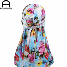 Unisex Floral Print Silky Durag Bandanas for Men Turban Silk Durags Waves Cap Hat