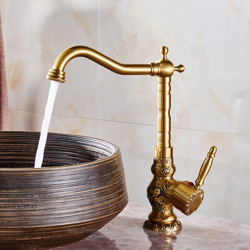 Deck Mounted Tall Bathroom Sink Mixer Faucet Basin crane tap Antique Countertop faucet Brass Hot and Cold Water 22G1201T перчатки рабочие archimedes stabi 91894
