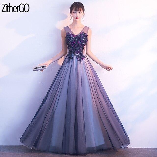 7cbd1dae7c3c ZitherGo New Purple Net yarn Long Dress Sexy V-Neck Pleat Maxi Party Dress  Women Sleeveless Slim A-line dress