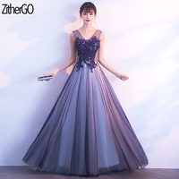 ZitherGo New Purple Net yarn Long Dress Sexy V Neck Pleat Maxi Party Dress Women Sleeveless Slim A line dress