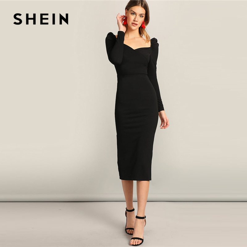 SHEIN Black Surplice Neck Sweetheart Puff Sleeve Split Pencil Plain Bodycon Dress Women Spring Elegant High Waist Dress