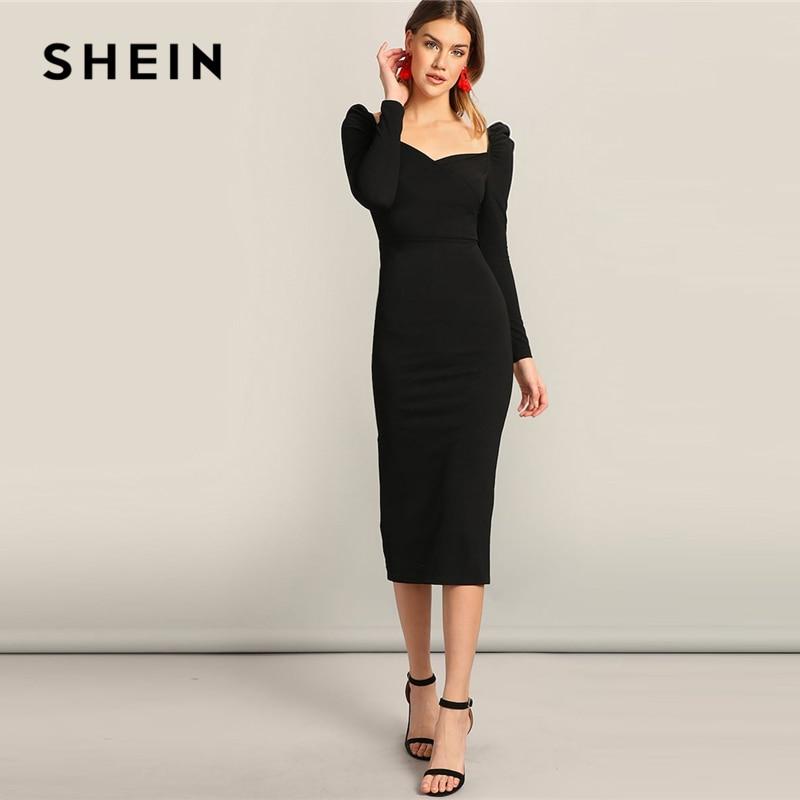 SHEIN Black Surplice Neck Split Pencil Plain Bodycon Dress Women's Dresses Women's Shein Collection