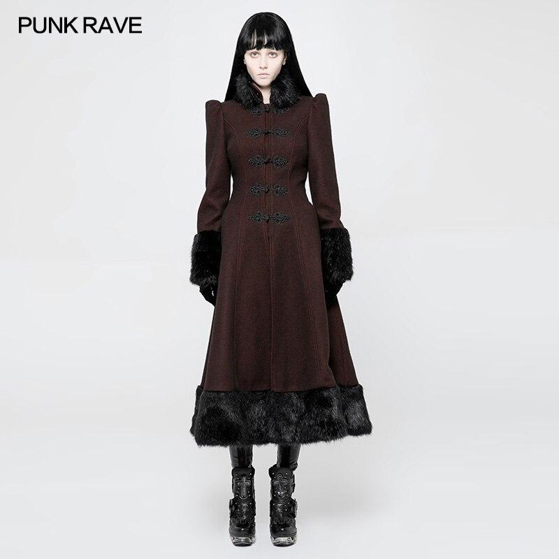 PUNK RAVE Gothique Lolita Femmes Élégant Long manteau d'hiver Vintage Palais Princesse avec col de fourrure Outwear manteau de laine
