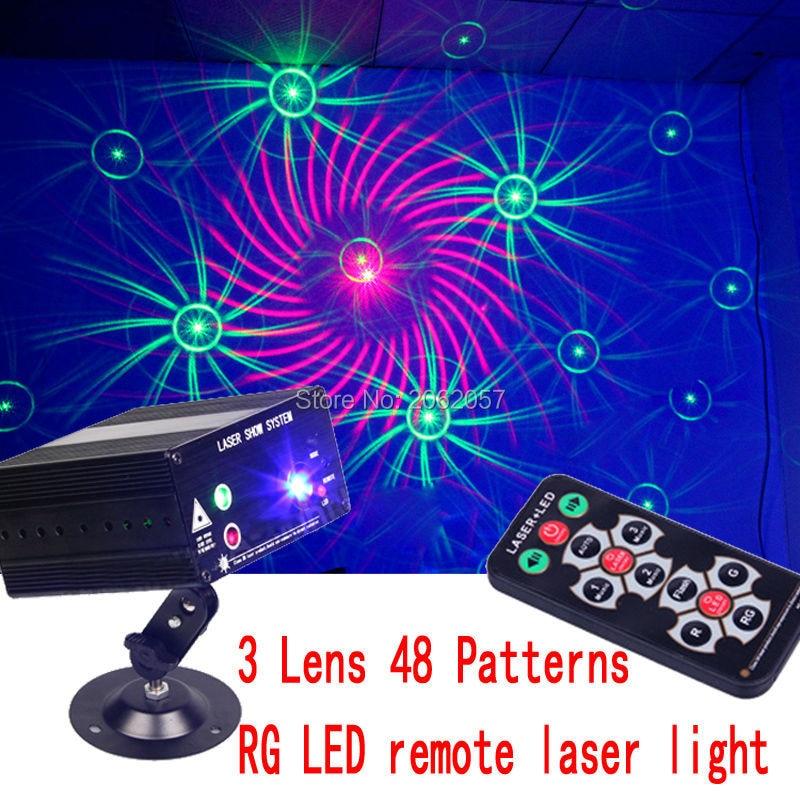 3 Ոսպնյակներ 48 Նախշերով RG LED հեռավոր լազեր DJ DISCO թեթև արձակուրդային երեկույթ էֆեկտ լազերային պրոյեկտոր լազերային ցուցադրում փուլի լուսավորություն