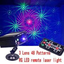 3 Lens 48 Patterns RG LED remote laser DJ DISCO light  holiday party  effect laser projector  laser show  stage lighting